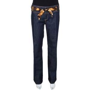 Roberto Cavalli Indigo Denim & Silk Waist Trim Straight Leg Jeans L