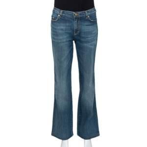 بنطلون روبرتو كافالي ساق مستقيمة دنيم مغسول متوسط أزرق L