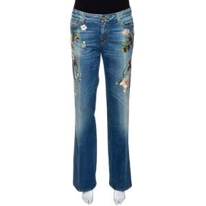 Roberto Cavalli Blue Floral Embroidered Denim Flared Jeans L