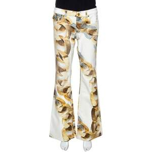 Roberto Cavalli Cream Jewel Printed Denim Flared Jeans L