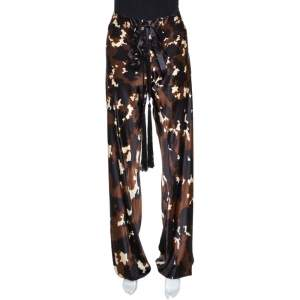 Roberto Cavalli Brown Printed Silk Satin Wide Leg Pants M