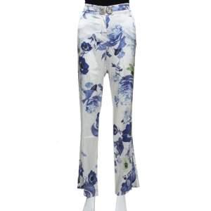 Roberto Cavalli White & Blue Floral Printed Stretch Silk Straight Leg Trousers L