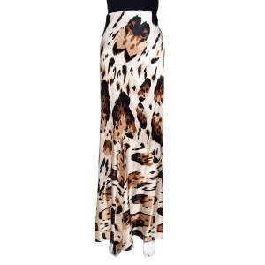 Roberto Cavalli Beige Printed Silk Satin Flared Maxi Skirt L
