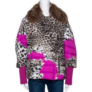 Roberto Cavalli Beige Animal Print Quilted Fur Lined Jacket M