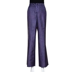 Roberto Cavalli Blue Floral Print Silk Wide Leg Pants L