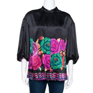 Roberto Cavalli Black Floral Printed Silk Balloon Sleeve Blouse M
