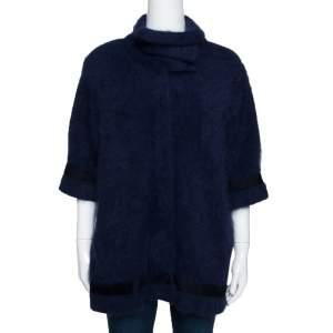 Roberto Cavalli Navy Blue Mohair Short Sleeve Jacket M