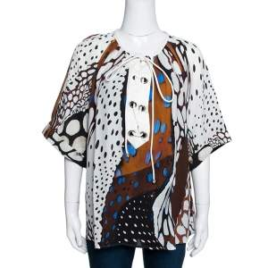 Roberto Cavalli Multicolor Abstract Animal Printed Silk Crepe Short Sleeve Top L