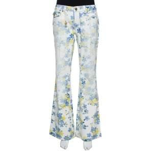 Roberto Cavalli White Floral Printed Denim Flared Jeans L