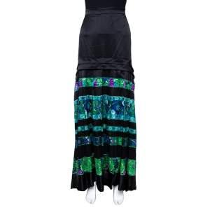Roberto Cavalli Black & Green Striped Floral Printed Silk Flared Maxi Skirt L