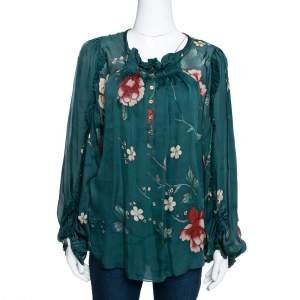 Roberto Cavalli Dark Green Floral Printed Chiffon Pleated Detail Blouse M
