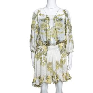 Roberto Cavalli White & Yellow Floral Print Silk Ruffled Dress L
