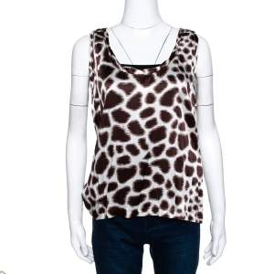 Roberto Cavalli Brown Printed Silk Satin Sleeveless Top L
