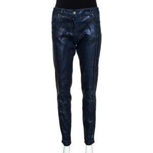 Roberto Cavalli Navy Blue Metallic Print Denim Fitted Jeans L