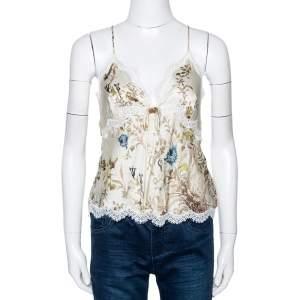 Roberto Cavalli Cream Floral Shimmer Print Silk Lace Trim Camisole L