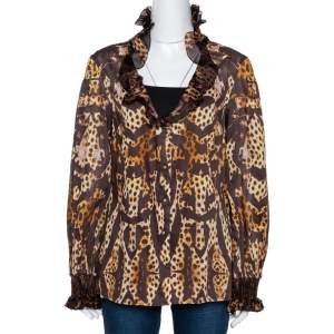 Roberto Cavalli Brown Animal Print Cotton Ruffled Top M