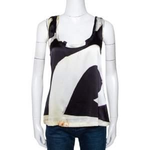 Roberto Cavalli Multicolor Abstract Printed Silk Sleeveless Top M