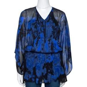 Roberto Cavalli Blue Printed Silk Bead Embellished Kimono Belted Top M
