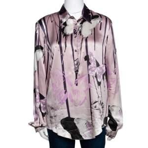 Roberto Cavalli Pale Pink Butterfly Print Silk Long Sleeve Shirt L