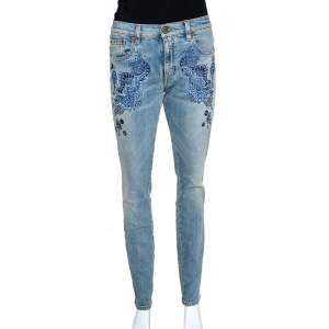 Roberto Cavalli Blue Denim Embroidered & Embellished Jeans M