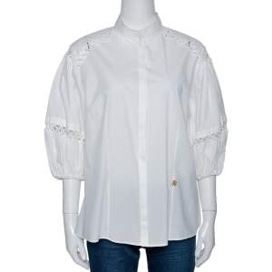 Roberto Cavalli White Cotton Eyelet Lace Trim Blouse L