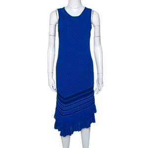 Roberto Cavalli Blue Stretch Knit Asymmetric Hem Dress M