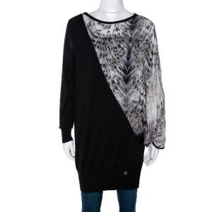 Roberto Cavalli Black Silk & Wool Knit Asymmetrical Top L