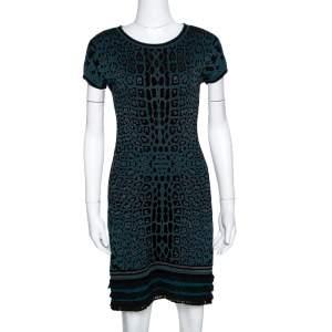 Roberto Cavalli Teal Animal Pattern Jacquard Ruffle Hem Dress M