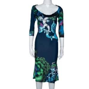 Roberto Cavalli Multicolor Floral Printed Jersey Ruffled Neckline Midi Dress S