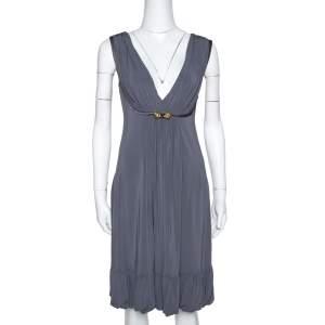 Roberto Cavalli Grey Draped Jersey Brooch Detail Short Dress S