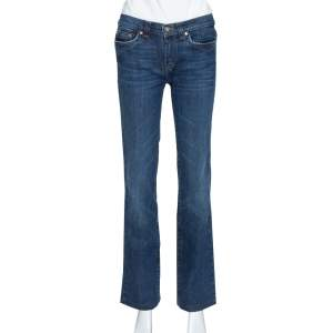 Roberto Cavalli Indigo Dark Wash Denim Faded Effect Jeans S