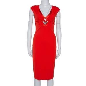 Roberto Cavalli Red Stretch Jersey Brooch Detail Midi Dress S