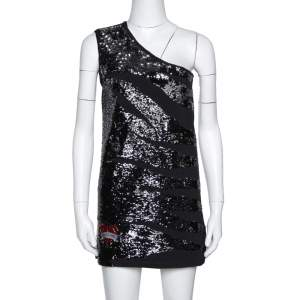 Roberto Cavalli Black Knit Sequined One Shoulder Mini Dress S