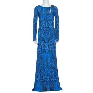 Roberto Cavalli Blue Printed Jersey Brooch Detail Maxi Dress M