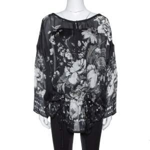 Roberto Cavalli Black Floral Print Silk Sheer Kaftan Blouse S