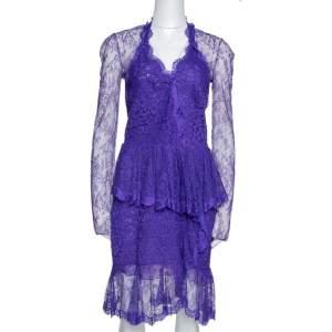 Roberto Cavalli Purple Lace Ruffled Peplum Dress M