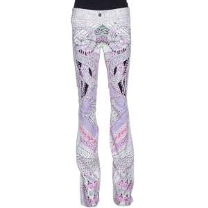 Roberto Cavalli White & Purple Snake Print Denim Flared Jeans M