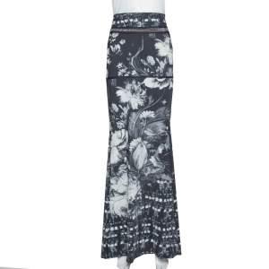 Roberto Cavalli Monochrome Floral Print Jersey Chain Detail Maxi Skirt L