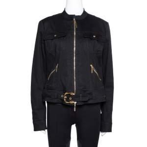Roberto Cavalli Black Denim Zip Front Belted Jacket L