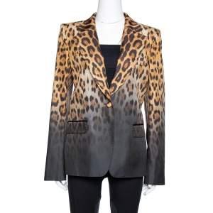 Roberto Cavalli Brown Ombre Animal Print Silk Tailored Blazer L