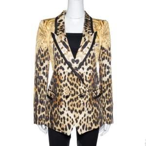 Roberto Cavalli Brown Animal & Eagle Print Silk Double Breasted Blazer L
