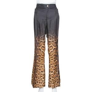 Roberto Cavalli Brown Ombre Leopard Print Silk Flared Pants L