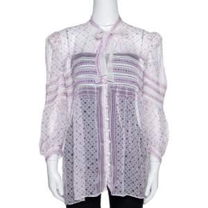 Roberto Cavalli White & Purple Floral Print Silk Sheer Blouse M