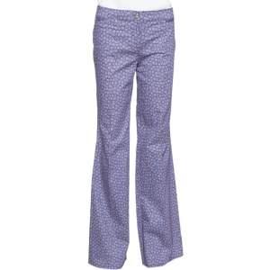 Roberto Cavalli Purple Floral Print Cotton Flared Trousers M