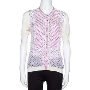 Roberto Cavalli White Floral Print Silk & Knit Embellished Ruffled Top M