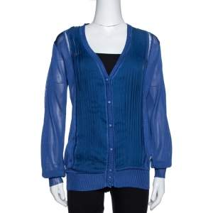 Roberto Cavalli Midnight Blue Silk Knit Pleated Cardigan M