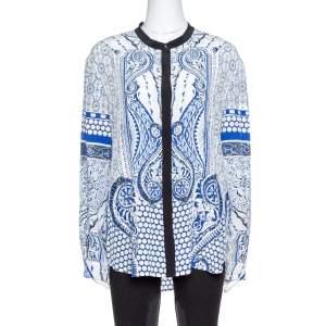 Roberto Cavalli Blue Printed Silk Long Sleeve Blouse L