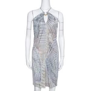 Roberto Cavalli Sage Animal Printed Jersey Halterneck Mini Dress S