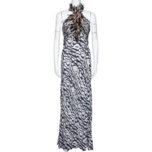 Roberto Cavalli Dark Blue Printed Silk Feather Detail Halter Neck Dress M