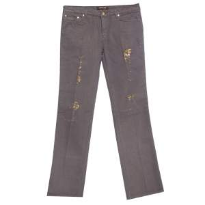 Roberto Cavalli Brown & Gold Denim Distressed Straight Leg Jeans M